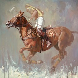 Polo Player by Mark Spain -  sized 39x39 inches. Available from Whitewall Galleries